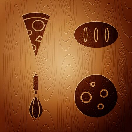 Set Cookie or biscuit with chocolate , Slice of pizza , Kitchen whisk and Bread loaf on wooden background. Vector