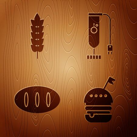 Set Burger , Cereals with rice, wheat, corn, oats, rye, Bread loaf and Blender on wooden background. Vector