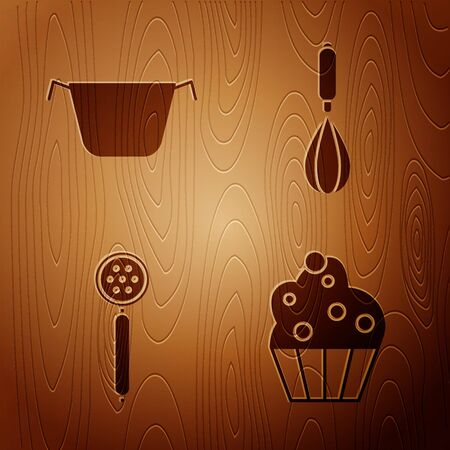 Set Cupcake , Cooking pot , Strainer spoon and Kitchen whisk on wooden background. Vector