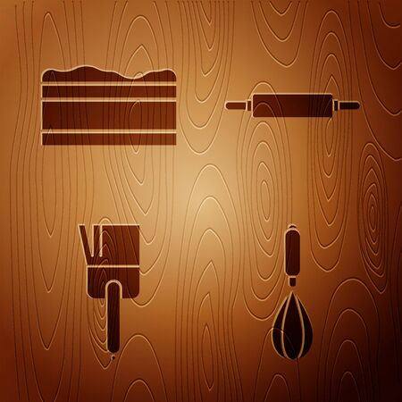 Set Kitchen whisk , Brownie chocolate cake , Kitchen brush and Rolling pin on wooden background. Vector