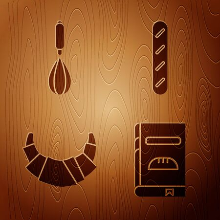 Set Cookbook , Kitchen whisk , Croissant and French baguette bread on wooden background. Vector