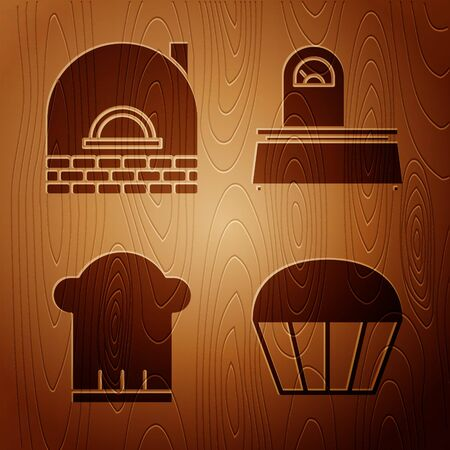 Set Muffin , Brick stove , Chef hat and Scales on wooden background. Vector Illustration
