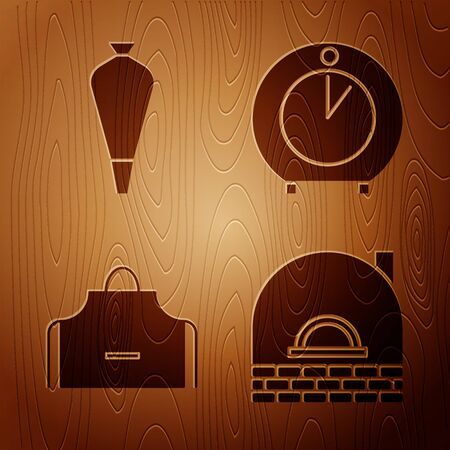 Set Brick stove , Pastry bag for decorate cakes, Kitchen apron and Kitchen timer on wooden background. Vector