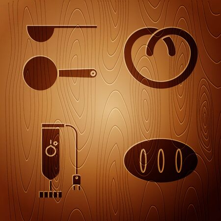 Set Bread loaf , Measuring spoon , Blender and Pretzel on wooden background. Vector Illusztráció