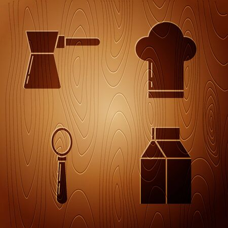Set Paper package for milk , Coffee turk , Spoon and Chef hat on wooden background. Vector Illustration