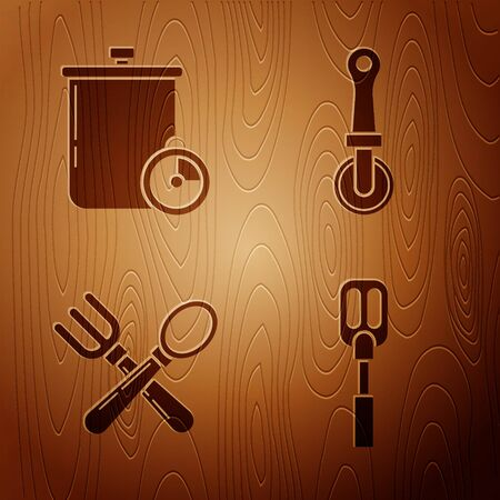 Set Spatula , Cooking pot and kitchen timer , Crossed fork and spoon  and Pizza knife  on wooden background. Vector