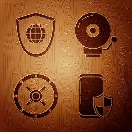 Set Smartphone with security shield , Shield with world globe , Safe and Ringing alarm bell on wooden background. Vector  イラスト・ベクター素材