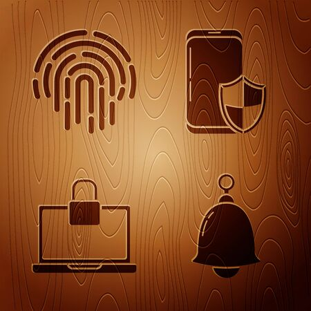 Set Ringing bell , Fingerprint , Laptop and lock and Smartphone with security shield on wooden background. Vector  イラスト・ベクター素材