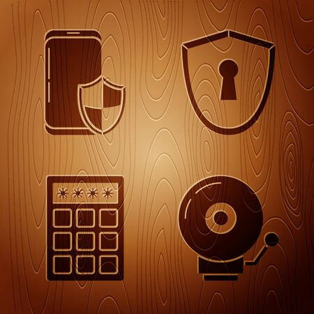 Set Ringing alarm bell , Smartphone with security shield , Password protection and safety access and Shield with keyhole on wooden background. Vector  イラスト・ベクター素材