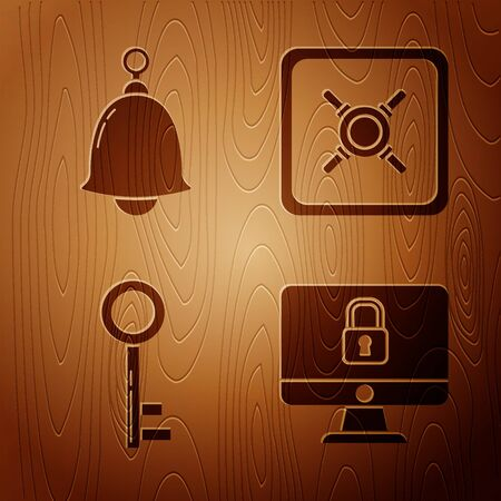 Set Lock on computer monitor screen, Ringing bell , Key and Safe on wooden background. Vector