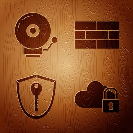Set Cloud computing lock , Ringing alarm bell , Shield with key and Bricks on wooden background. Vector