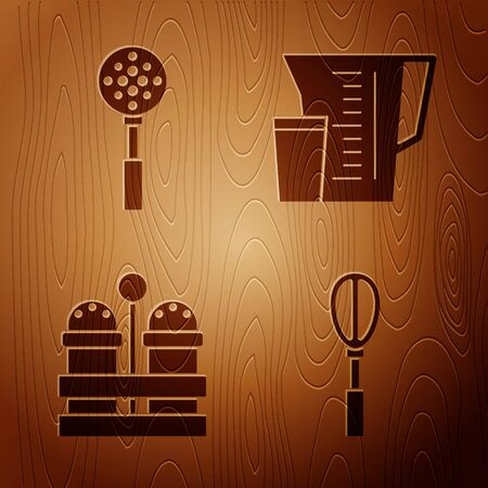 Set Kitchen whisk , Spatula , Salt and pepper and Measuring cup on wooden background. Vector