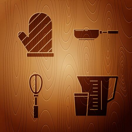 Set Measuring cup, Oven glove , Kitchen whisk and Frying pan on wooden background. Vector Ilustrace