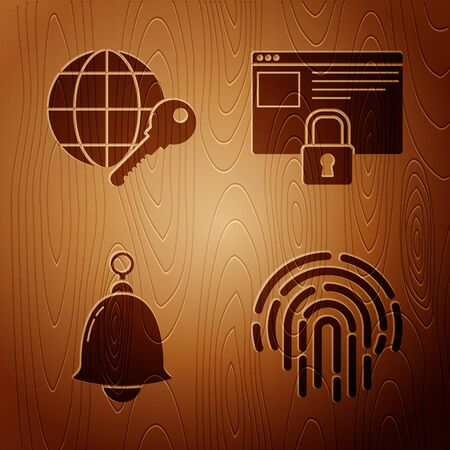Set Fingerprint , Globe key , Ringing bell and Secure your site with HTTPS, SSL on wooden background. Vector  イラスト・ベクター素材