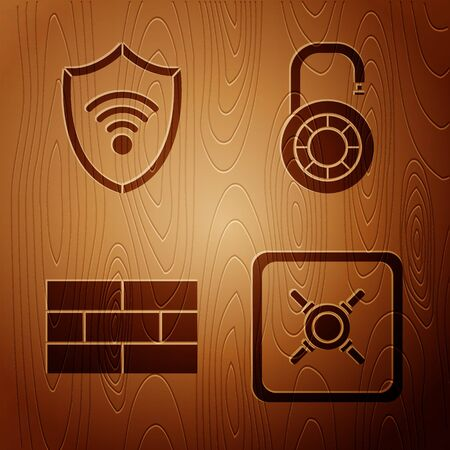 Set Safe , Shield with WiFi wireless internet network, Bricks and Safe combination lock wheel on wooden background. Vector Иллюстрация