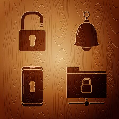 Set FTP folder and lock , Open padlock , Smartphone with lock and Ringing bell on wooden background. Vector