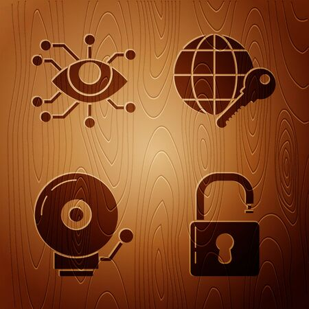 Set Open padlock , Eye scan , Ringing alarm bell and Globe key on wooden background. Vector