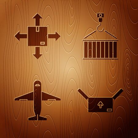 Set Cardboard box with traffic symbol , Cardboard box with traffic symbol, Plane and Container on crane on wooden background. Vector
