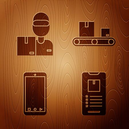 Set Mobile phone with app delivery tracking , Delivery man with cardboard boxes , Mobile phone with app delivery tracking and Conveyor belt with cardboard box on wooden background. Vector  イラスト・ベクター素材