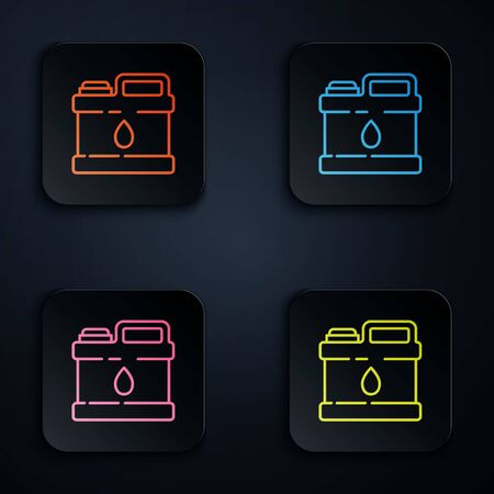 Color neon line Plastic canister for motor machine oil icon isolated on black background. Oil gallon. Oil change service and repair. Set icons in square buttons. Vector Illustration