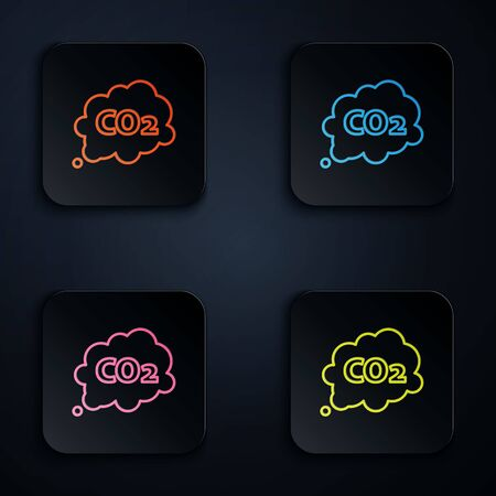 Color neon line CO2 emissions in cloud icon isolated on black background. Carbon dioxide formula symbol, smog pollution concept, environment concept. Set icons in square buttons. Vector Illustration