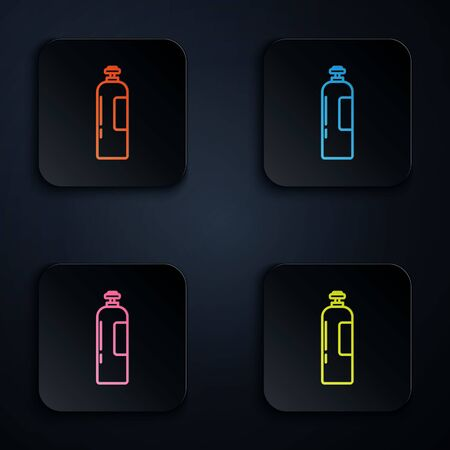 Color neon line Industrial gas cylinder tank for all inert and mixed inert gases icon isolated on black background. Set icons in square buttons. Vector Illustration