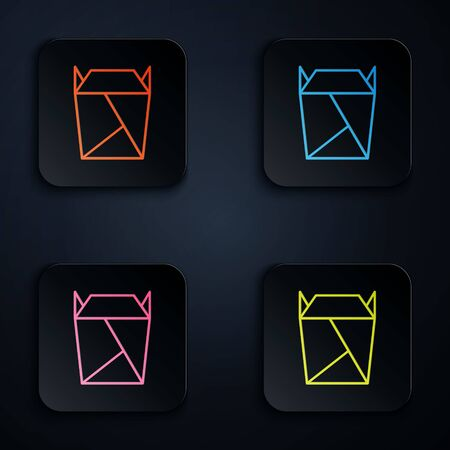 Color neon line Chinese restaurant opened take out box filled icon isolated on black background. Take away food. Set icons in square buttons. Vector Illustration