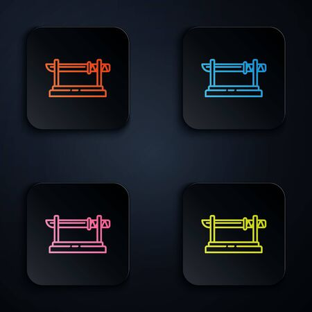 Color neon line Traditional Japanese katana on a wooden stand icon isolated on black background. Japanese sword. Set icons in square buttons. Vector Illustration Illustration
