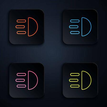 Farbneonlinie Fernlichtsymbol auf schwarzem Hintergrund isoliert. Autoscheinwerfer. Legen Sie Symbole in quadratischen Schaltflächen fest. Vektorillustration