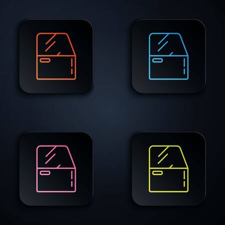 Color neon line Car door icon isolated on black background. Set icons in square buttons. Vector Illustration Vettoriali