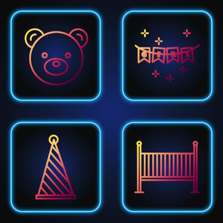 Set line Baby crib cradle bed, Party hat, Teddy bear plush toy and Carnival garland with flags. Gradient color icons. Vector Иллюстрация