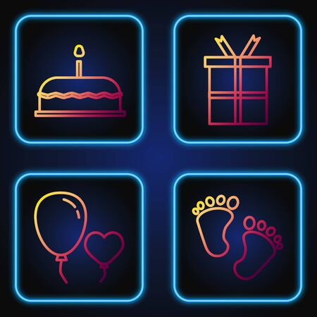Set line Baby footprints, Balloons in form of heart, Cake with burning candles and Gift box. Gradient color icons. Vector