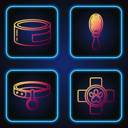 Set line Veterinary clinic symbol, Collar with name tag, Canned food and Hair brush for dog and cat. Gradient color icons. Vector Illusztráció
