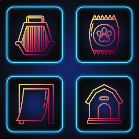 Set line Dog house, Door for pet, Pet carry case and Bag of food for pet. Gradient color icons. Vector