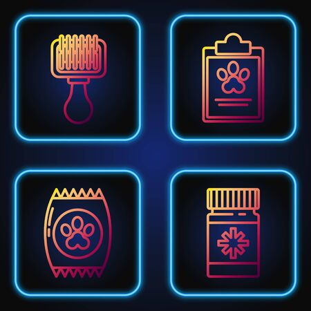 Set line Dog medicine bottle and pills, Bag of food for pet, Hair brush for dog and cat and Clipboard with medical clinical record pet. Gradient color icons. Vector