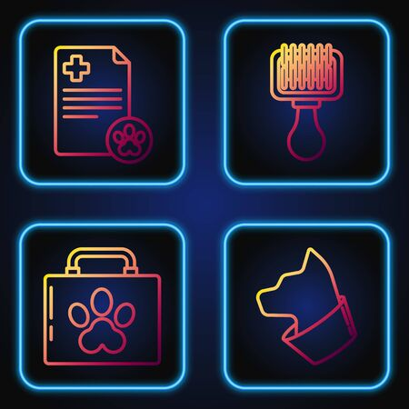 Set line Cat, Pet first aid kit, Clipboard with medical clinical record pet and Hair brush for dog and cat. Gradient color icons. Vector Illusztráció