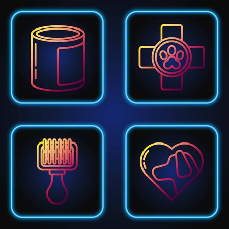 Set line Heart with dog, Hair brush for dog and cat, Canned food and Veterinary clinic symbol. Gradient color icons. Vector Illusztráció