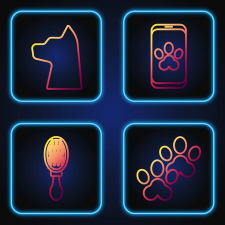 Set line Paw print, Hair brush for dog and cat, Cat and Online veterinary clinic symbol. Gradient color icons. Vector Illusztráció