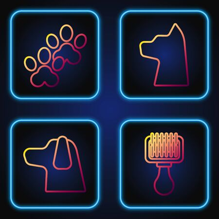 Set line Hair brush for dog and cat, Dog, Paw print and Cat. Gradient color icons. Vector