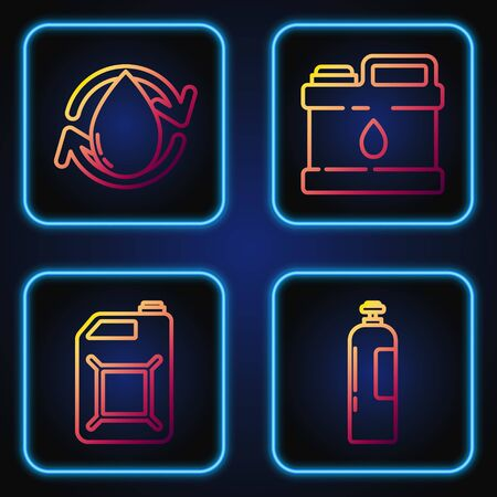 Set line Industrial gas cylinder tank, Canister for gasoline, Oil drop and Canister for motor machine oil. Gradient color icons. Vector Illustration