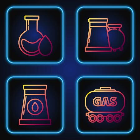 Set line Gas railway cistern, Oil and gas industrial factory building, Oil petrol test tube and Oil and gas industrial factory building. Gradient color icons. Vector