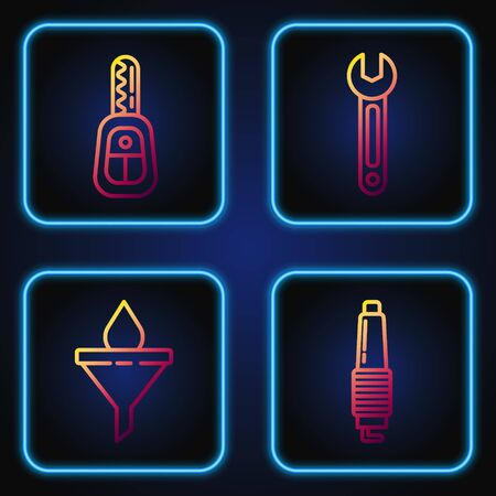 Set line Car spark plug, Funnel or filter and motor oil drop, Car key with remote and Wrench. Gradient color icons. Vector