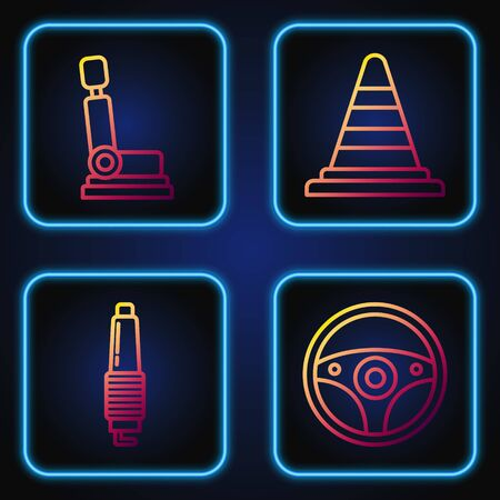 Set line Steering wheel, Car spark plug, Car seat and Traffic cone. Gradient color icons. Vector Ilustração