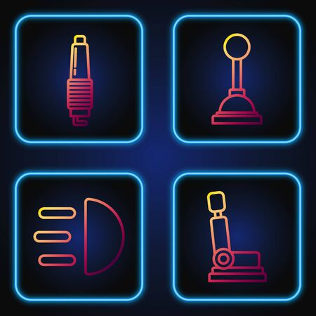 Set line Car seat, High beam, Car spark plug and Gear shifter. Gradient color icons. Vector
