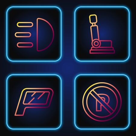 Set line No Parking or stopping, Car mirror, High beam and Car seat. Gradient color icons. Vector