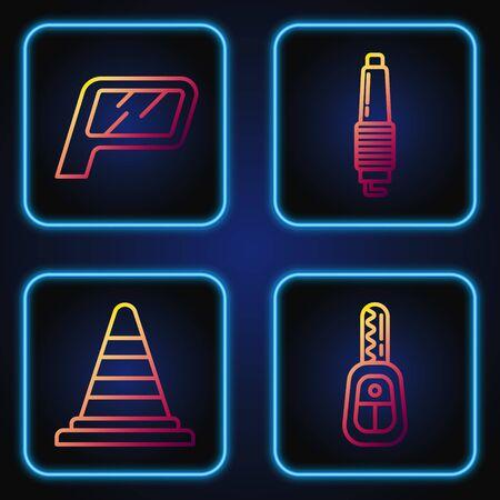 Set line Car key with remote, Traffic cone, Car mirror and Car spark plug. Gradient color icons. Vector Ilustração