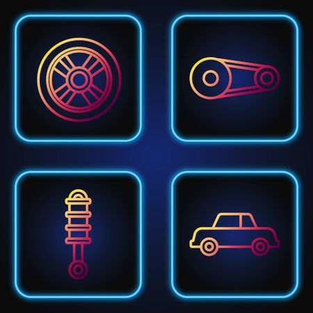 Set line Car, Shock absorber, Car wheel and Timing belt kit. Gradient color icons. Vector