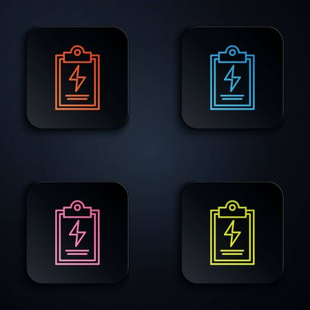 Color neon line Laboratory clipboard with checklist icon isolated on black background. Control list symbol. Set icons in square buttons. Vector Illustration Çizim