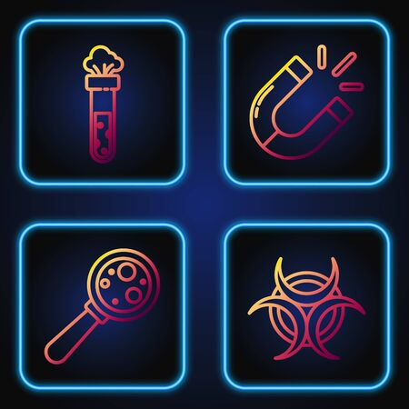 Set line Biohazard symbol, Microorganisms under magnifier, Test tube and flask chemical and Magnet. Gradient color icons. Vector Illustration