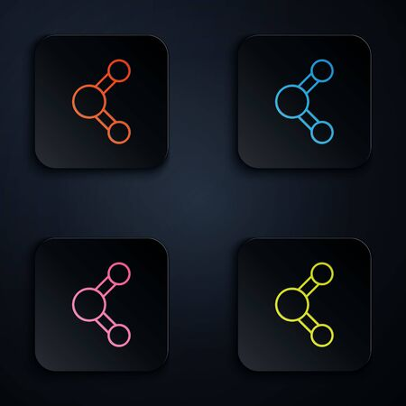 Color neon line Share icon isolated on black background. Sharing, communication pictogram, social media, connection, network, distribute sign. Set icons in square buttons. Vector Illustration Ilustración de vector